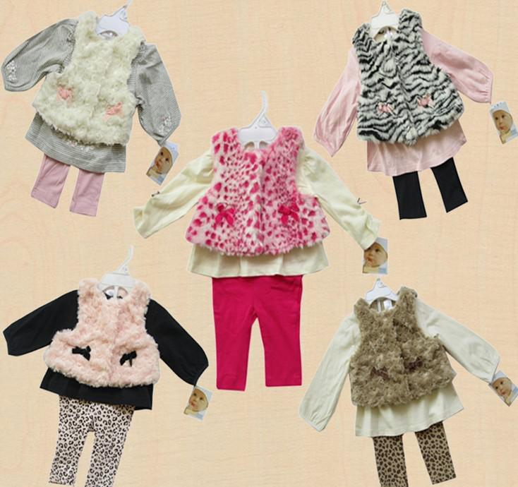 3 pcs set baby Coat / Vest T-shirt, Leggings Pant Tops shirt outfit 12sets/lot #2931