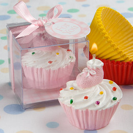Wholesale candle baby - Wedding candle favors Pink Cupcake & Bootie Design Cake Candle Favour 20pcs lot For baby showers and baby birthday gift