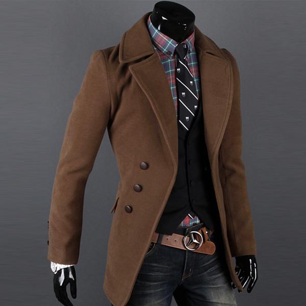 Men Jacket Coat Slim Winter Coat Mens Long Coat Lapel Single ...
