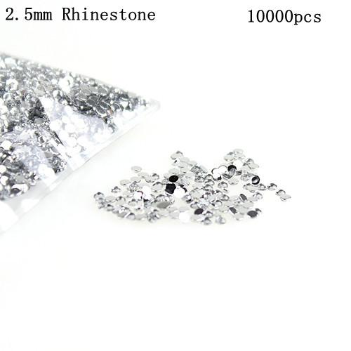 Nail Art Decorations 1bags/bag optional 2.5mm Clear Round Crystal Rhinestone Nail Art Tip Rhinestone