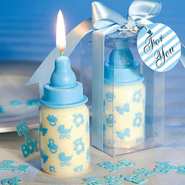 Wholesale Blowout Cards - Free shipping Wedding favors Blue Baby Bottle Candle Favor with Baby-Themed Design 20PCS LOT for baby shower and baby gift Wedding gift