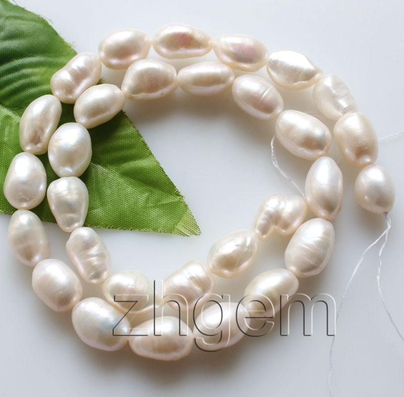 "9-10*12-14mm natural white Baroque pearl loose beads gem stone 15"" jewellery DIY"