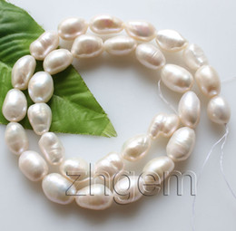 """Wholesale Oval Pearl Beads Loose - 9-10*12-14mm natural white Baroque pearl loose beads gem stone 15"""" jewellery DIY"""