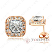 Wholesale Brilliant Diamond Earrings - Yoursfs Trendy Brilliant Earrings 18 K Rose Gold Plated Stunning Austria Crystal Emulational Diamond Stud Vogue Earring For Women Wedding