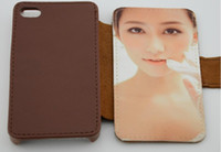 Wholesale Iphone 4s Magnet Case - Leather DIY sublimation blanks case with magnet and Card slot for iphone 4G 4S free shipping 20pcs lot