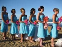 Wholesale Strapless Short Green Beach Dresses - 2013 Sexy Beach Bridesmaid Dresses Colorful Blue Color Sheath Strapless Neckline Chiffon Short Girls Summer Dresses ZJ092