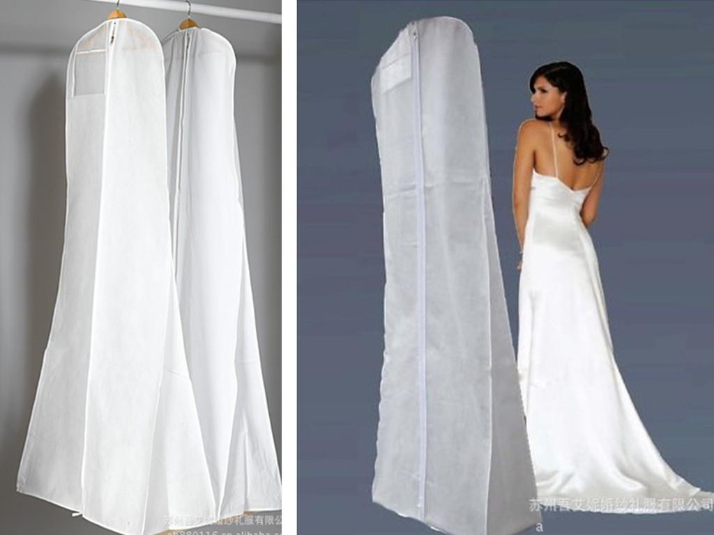 Big size fishtail wedding dresses cover bag bridal garment for Storing wedding dress in garment bag