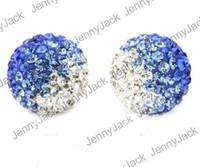 Wholesale Disco Ball Tone - Christmas Ornament Shamballa Beads 10mm Clay Two Tone Gradient Color Crystal Shamballa Disco Balls