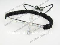 Wholesale Sideways Cross Bracelet Beads - CROSS Promotion Rhinestones Honesty Crystal Beads Sideways Cross Shamballa Bracelet with Macrame