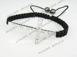 Wholesale Honesty Bracelets Crystal - CROSS Promotion Rhinestones Honesty Crystal Beads Sideways Cross Shamballa Bracelet with Macrame