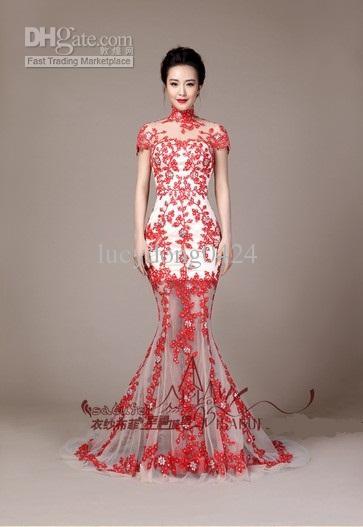 Personalizado mais recente encantador pescoço sexy altamente vestidos de casamento branco e vermelho laço vestidos de casamento de sereia nupcial