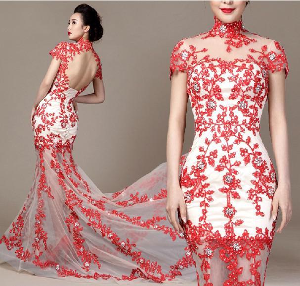 Aangepaste nieuwste sexy hoge nek backless trouwjurken witte en rode kant bruidsmeedermin bruidsjurken