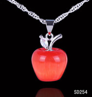 Wholesale Glass Apple Necklace - Wholesale 925 Sterling Silver Pendant 20x14mm Cat Eye Glass Red Apple Dangle Fashion Women Lady For Necklace Jewelry Making SD254