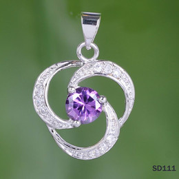 Wholesale Amethyst Fashion Jewelry - 925 Sterling Silver With Crystal Amethyst 22x17mm Jewelry Necklace Pendant Charms Modern Shape Women Lady Girl Fashion Style Dangle SD111