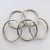 Wholesale Keyring Chain Loop Wholesale - 50x Split Keyring 25mm Key Ring Chain Loop Pocket Photo Clasps Connectors Silver