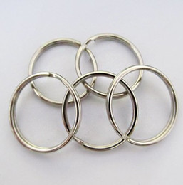 Wholesale Photo Connector - 50x Split Keyring 25mm Key Ring Chain Loop Pocket Photo Clasps Connectors Silver