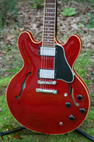 Wholesale Hollow Body Jazz - New Arrival Custom Red 335 Jazz Guitar Electric Guitar 1959 Dot Reissue High Quality Musical instruments HOT Guitars