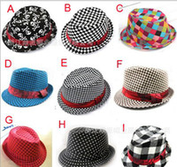 Wholesale Baby Boy Brim Hats - Baby kids children's Caps accessories hat boys grils hats fedora hat mixed color ,10pcs lot,dandys