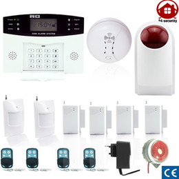 Wholesale Free Sms System - GSM SMS Home Burglar Security Alarm System Detector Sensor Kit smoke detector ourdoor siren free shipping