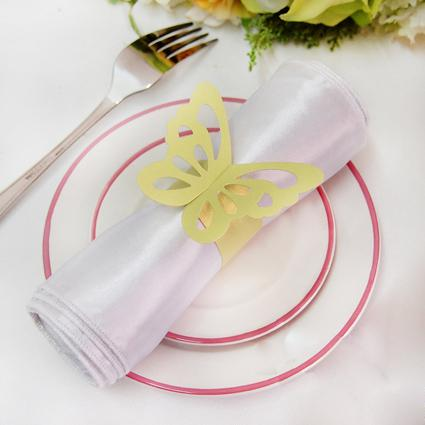 Frete Grátis-de Alta Qualidade Papel De Ouro Borboleta Guardanapo Anéis De Casamento Nupcial Do Chuveiro Favores Do Casamento-New Arrivals