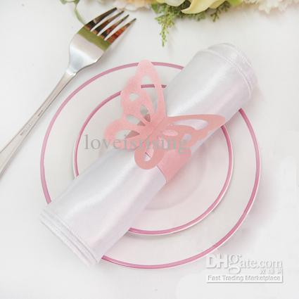 Gratis verzending-50 stks hoge kwaliteit blauw papier vlinder servet ringen bruiloft bruids douche bruiloft gunsten-nieuwe aankomsten