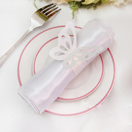 Wholesale Butterfly Paper Napkins - Free Shipping-50pcs High Quality White Paper Butterfly Napkin Rings Wedding Bridal Shower Wedding Favors-New Arrivals