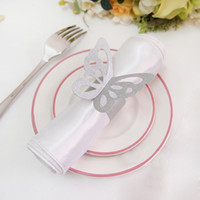 Wholesale Silver Paper Napkin Rings - Free Shipping-50pcs High Quality Silver Paper Butterfly Napkin Rings Wedding Bridal Shower Wedding Favors-New Arrivals