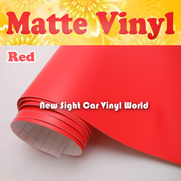 Wholesale Vinyl Wrap Red - Hign Quality Matte Red Vinyl Wrap With Air Free Bubble For Car Stickers Size: 1.52*30m Roll