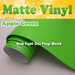 Wholesale Vehicle Decal Wraps - High Quality Apple Green Matte Car Wrap Vinyl Film Air Channel For Vehicle Decals Size: 1.52*30m Roll