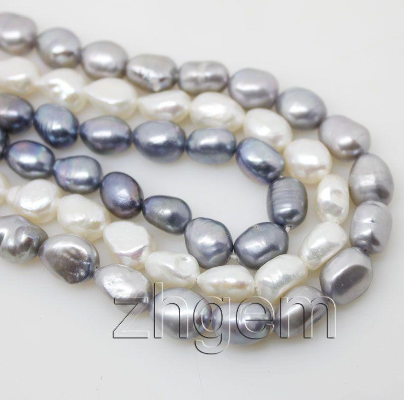 "3strands natural 8-10mm white gray black Baroque pearl loose beads gem 15"" jewellery DIY"