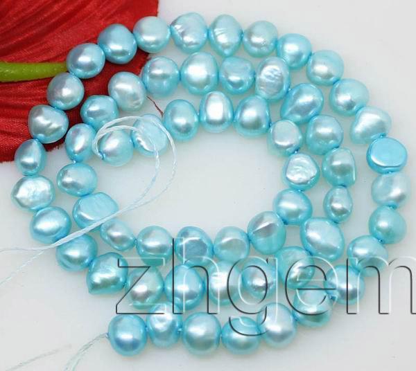 "light blue baroque pearl Loose gem stone 6-7 mm 14"" jewellery DIY"