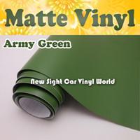 voiture couleur armée achat en gros de-Film de vinyle vert mat armée de haute qualité pour canal d'air de voiture pour autocollants de voiture FedEx LIVRAISON GRATUITE Taille: 1.52 * 30m / Roll