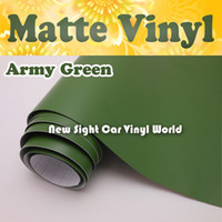 Wholesale Cars Green Matte - High Quality Army Green Matte Vinyl Film For Car Air Channel For Car Stickers FedEx FREE SHIPPING Size: 1.52*30m Roll