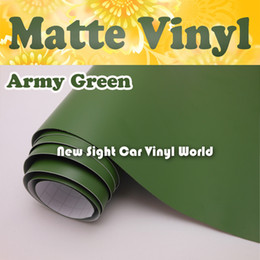 Wholesale Army Film - High Quality Army Green Matte Vinyl Film For Car Air Channel For Car Stickers FedEx FREE SHIPPING Size: 1.52*30m Roll