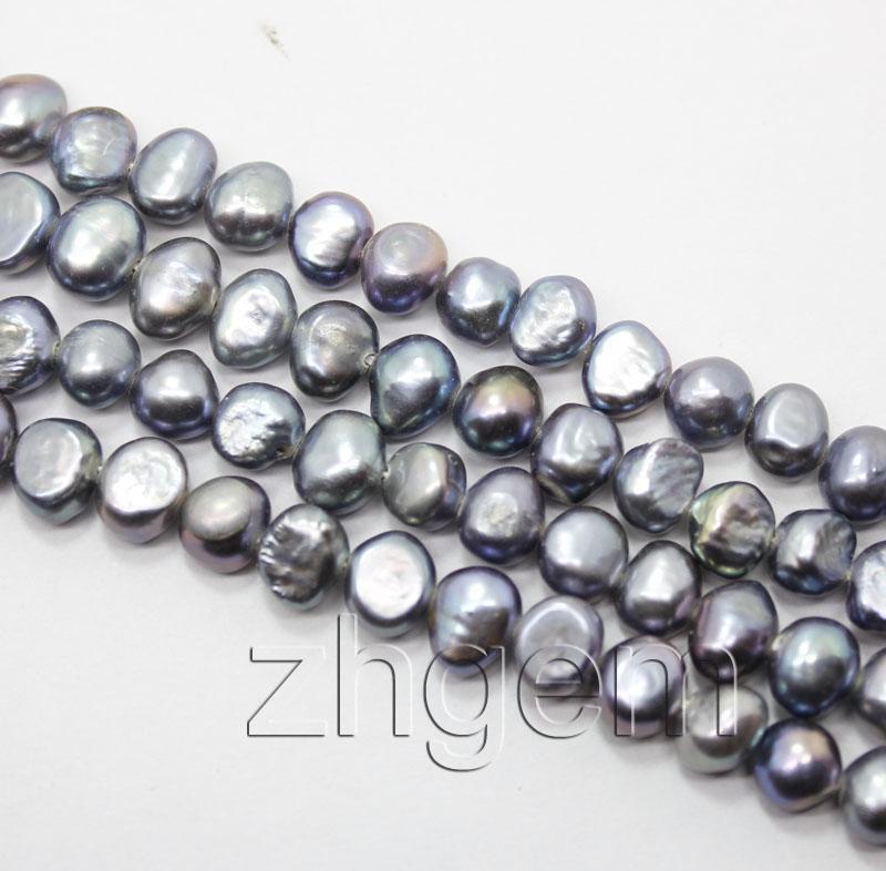 "5-7mm natural gray black freshwater pearl loose beads gem strand 14.5"" jewellery DIY"
