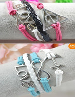 Wholesale Harry Potter Infinity Bracelets - 30%off 20pcs (love+anchor+intinity or Harry Potter+love+infinity+Velvet Leather)bracelet charm bracelet bracelets cheap hot women menlo
