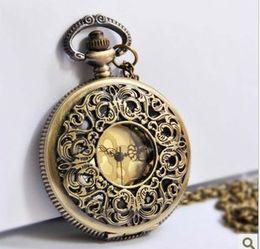 Wholesale Watches Wholesale Bronze - (WA101)free shipping,wholesale,hot sale,10pcs lot necklace fashion style new BRONZE vintage man woman lady Quartz Pocket Watches