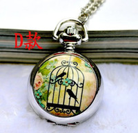 Wholesale Vintage Bird Cage Watch Necklace - wholesale New arrival vintage painting antique bird cage necklace pocket watch ,free shipping,6 styles