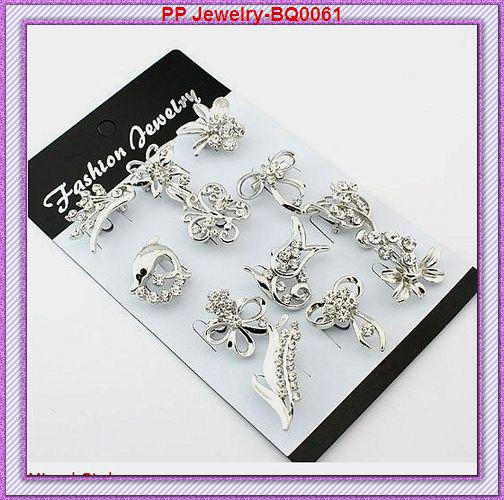 Wholesale Fctory Direct Sale Hot Selling 24PCS/LOT Mixed Designs Rhinestone Crystal Silver Collar Small Flower Brooch Pins
