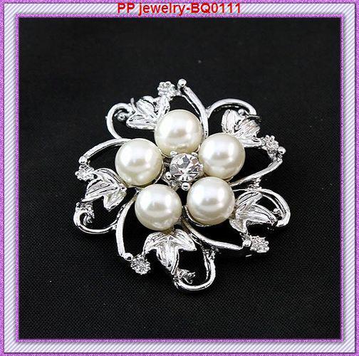 Fabbrica all'ingrosso all'ingrosso / argento strass tono e perla spilla fiore BQ0111