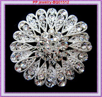 Sparkly Clear Crystal Silver Plated Flower Pins Brooch Hot Selling Bouquet de noiva de casamento de luxo Diamante Broches Cheap Good Quality!