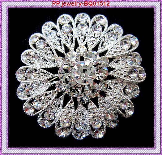 Sparkly Clear Crystal Silver Plated Flower Pins Brooch Hot Selling Luxury Wedding Bridal Bouquet Diamante Brooches Cheap Good Quality!
