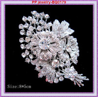 Wholesale Flower Bouquet Jewelry - 3.2 Inch Vintage Fashion Rhodium Tone Alloy Big Bunch Flower Women Brooch Wedding Bouquet Jewelry Accessories Pins Broaches Gift Brooch Pins