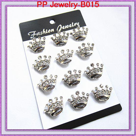 Free Shipping!B015 Fancy Bling Rhinestone Crystal Silver Small Crown Brooch Pins
