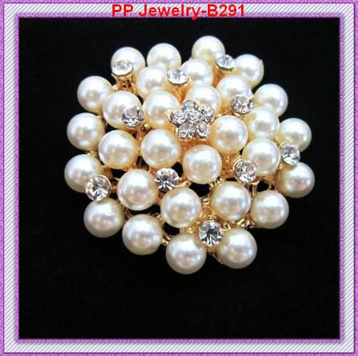Ton or fantaisie strass cristal clair et fausse perle fleur broche / bouquet de mariage, épingles de parti B291