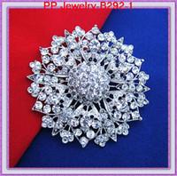 klasik gümüş yapay elmas broş toptan satış-2.5 Inç Büyük Çiçek Vintage Gümüş Çarpıcı Kristal Rhinestone Büyük Çiçek Broş Pin Bayanlar Güzel Çiçek Broş B292