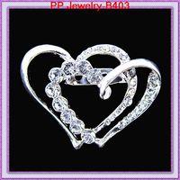 cristais para convites venda por atacado-Adorável dois cristal em forma de coração broche de casamento, broche de prata para o casamento, partido, cartão de convite B403