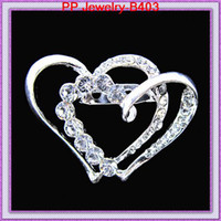Wholesale wedding invitations asian - two crystal heart shaped wedding brooch,silver brooch for wedding invitation card B403
