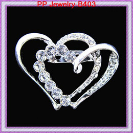 Wholesale Heart Shape Invitation - two crystal heart shaped wedding brooch,silver brooch for wedding invitation card B403