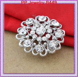 Wholesale Red Heart Rhinestone Brooch - High Quality Silver Plated Lovely Rhinestone Crystal Heart Flower Brooch Pins Cake Decorationg Brooch Wedding Bridal Bouquet Pins Brooches